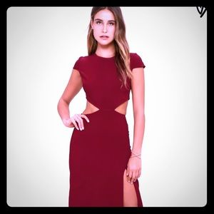 Conversation Piece Wine Red Backless Maxi Dress